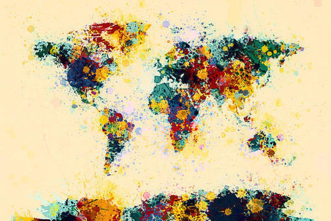 Graphic 4 World Map Paint Splashes Michael Tompsett